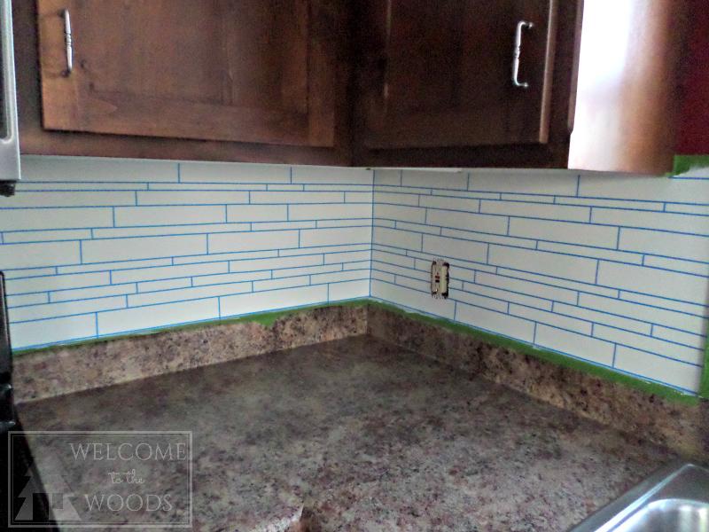 faux tile back splash with paint