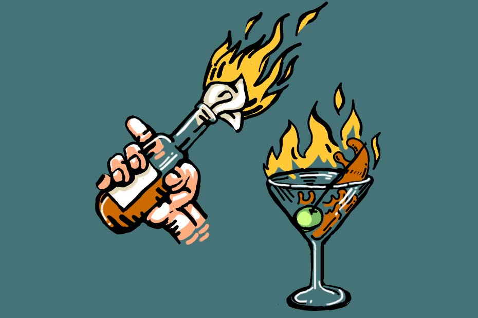 Illustration of a molotov cocktail