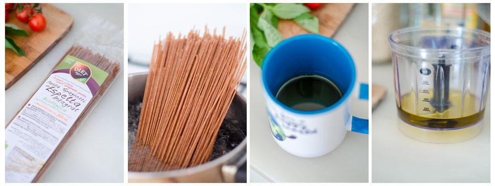 Cocemos los espaguetis de espelta y preparamos el aceite de la salsa pesto vegano