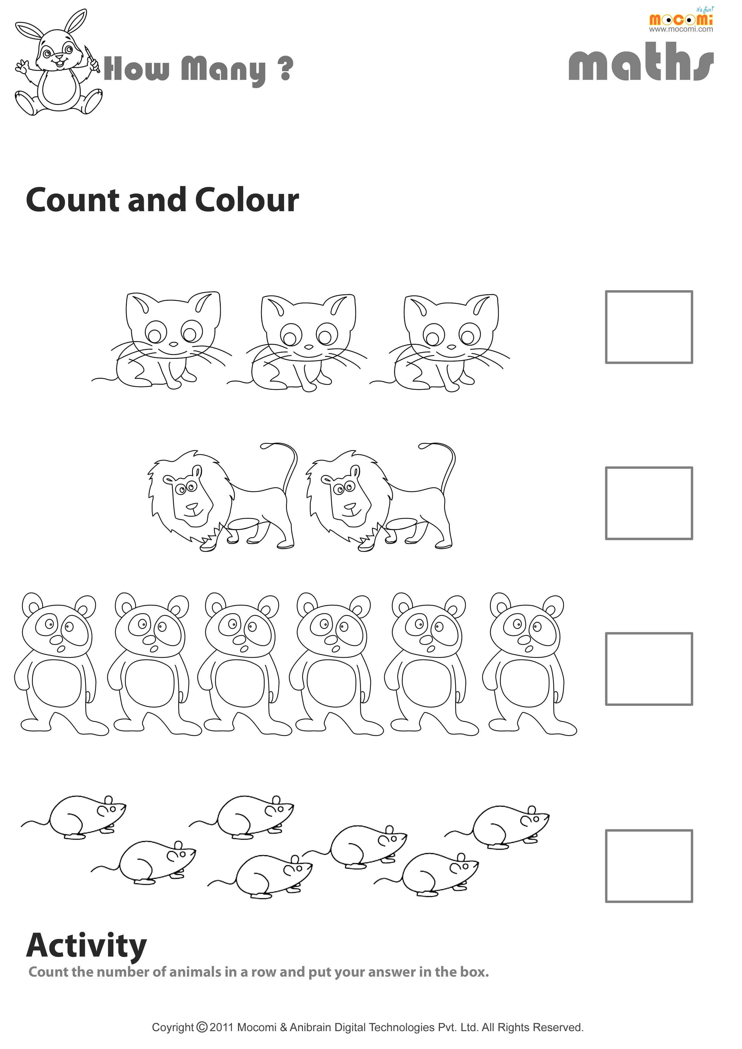 Count And Colour Worksheet