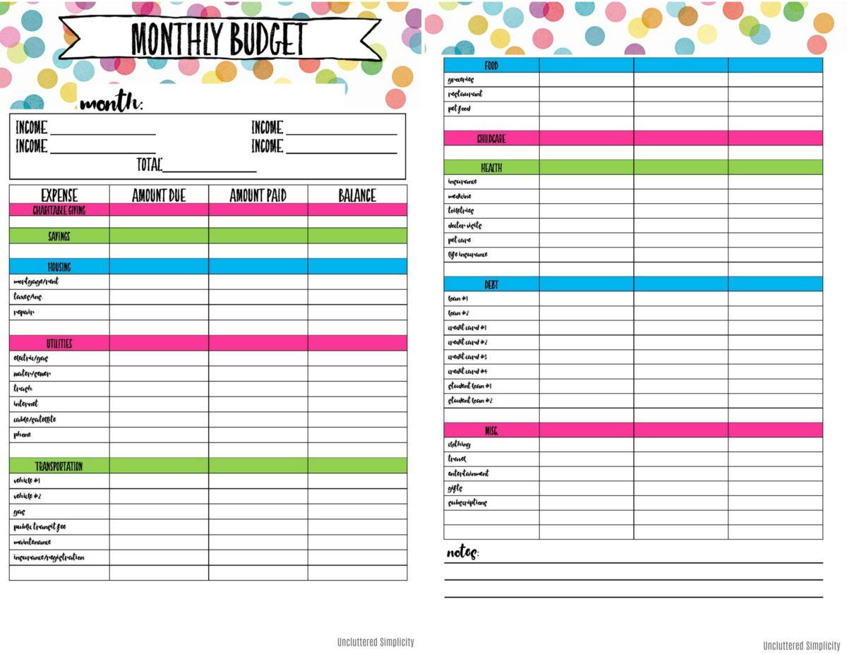 Free Printable Budget Planning Worksheets