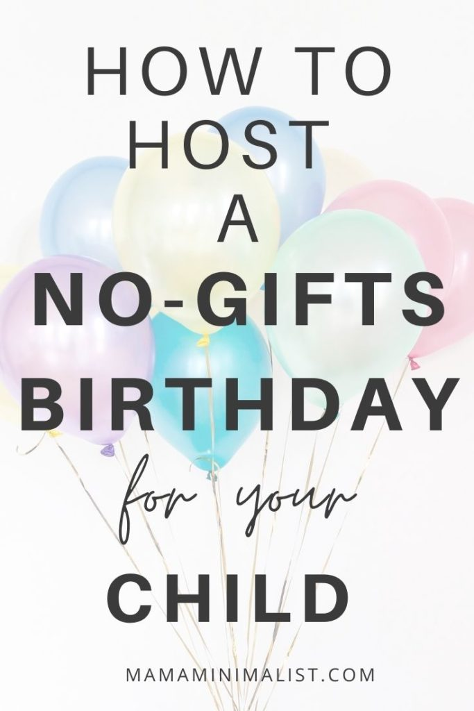 no gifts birthday party for your child