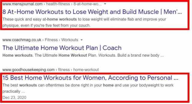 Capture d'écran des résultats de recherche Google