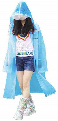 EmBAPE Unisex Super Soft PVC Waterproof Long Full-Length Hooded Raincoats