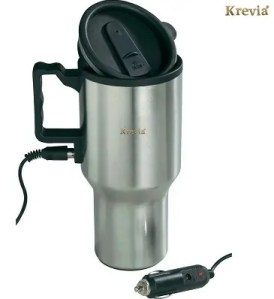 Krevia 12V Car Charging Electric Kettle Stainless Steel Travel Coffee Mug