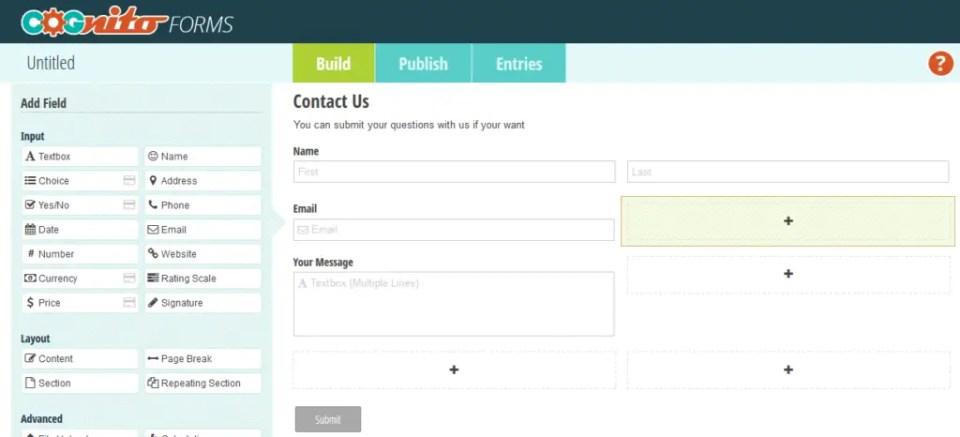 Cognito Forms para criar formulários padrão e mais fácil para pagamentos simples