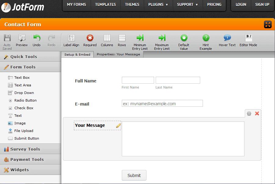 Formulário Jot - ferramenta construtora de formulários on-line