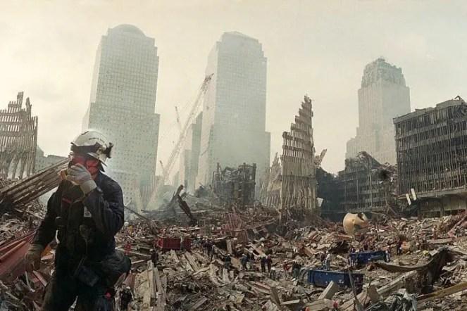 Foto des Ground Zero-Arbeiters mit Atemschutzmaske