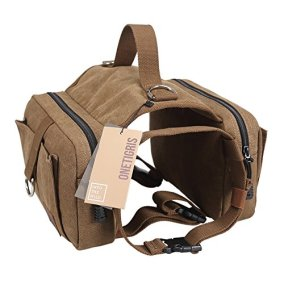 OneTigris Dog Pack Hound Travel Camping Hiking Backpack Saddle Bag Rucksack for Medium & Large Dog with 16'-26' Neck Girth and 30'-42' Chest Girth (Brown, Large)