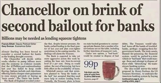 Artículo de The Times del 3 de enero de 2009 (fecha de lanzamiento de Bitcoin). Fuente: The Chain Bulletin