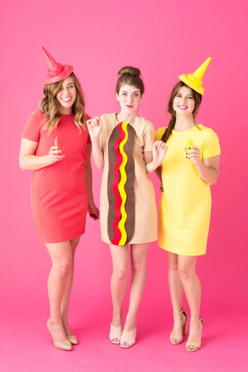 Girls in group for Halloween