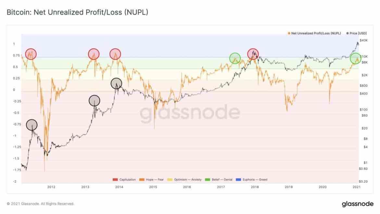 Bitcoin NUPL Metric. Source: Glassnode