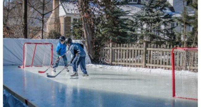 back yard ice hockey rink