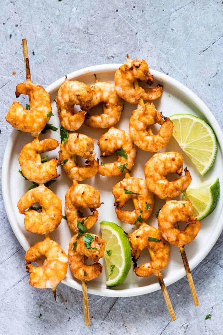 Cilantro Lime Air Fryer Shrimp Skewers