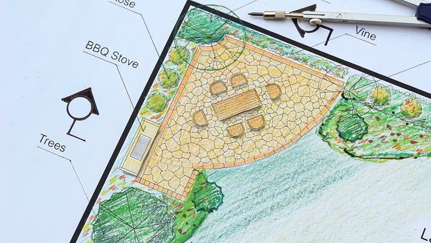 Landscape Architect Design L Shape Garden Plan Stock ... on L Shaped Backyard Layout id=78555
