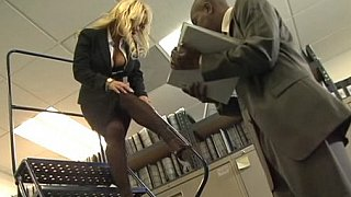 Busty blonde office girl gets fucked by black cock image