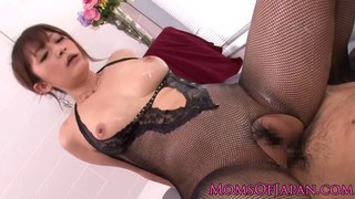 WAM Japanese mature in lingerie rides cock in bath image