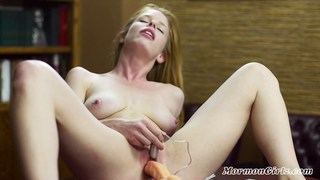 Image: Hot natural Mormon girl masturbates with a toy