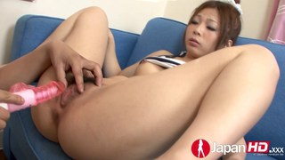 Playing with a squirting Asian pussy image