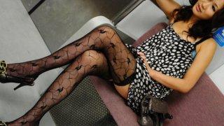Asami Yoshikawa Pretty Japanese babe gets pussy licked in the subway image