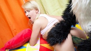 Image: Teddy bear with a black cock in her mouth gave the blonde