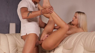 Cock hungry coed Joleyn Burst enjoys a hot 69 and a lusty blowjob before giving her man the... image