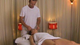 Image: Horny amateur brunette babe hard massaged with big cock