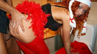Image: Horny young hot students celebrate Christmas