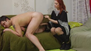 Sexy redhead mature bitch has a special treat for tight male ass hole image