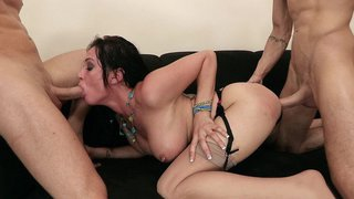 Image: Tory Lane takes one stiff cock in her ass and the other in her mouth