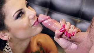 Image: Filthy whore Bonnie Rotten slobbered all over the cock