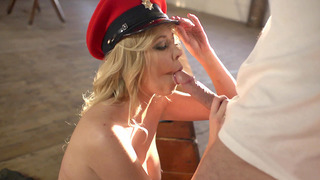 Lexi Lowe in an Army outfit orders him to fuck her mouth image