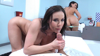 Kendra Lust and Rachel Starr sucking patient's cock in POV image