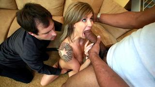 Chloe Chaos sucks huge penis in front of her hubby image
