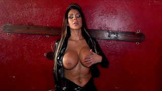 Brooke Ultra in a leather dominatrix outfit shows off her curves image