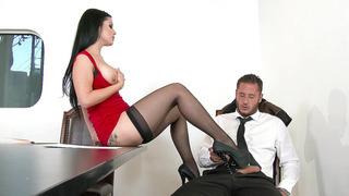 Slutty boss Katrina Jade teasing and seducing her co-worker image
