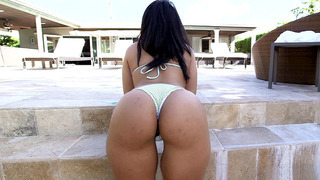 Image: 19 year old Latina Ava Sanchez has a slim waist and big ass