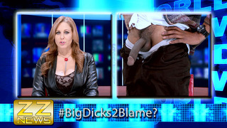 Julia Ann sucking big black cock on live television image