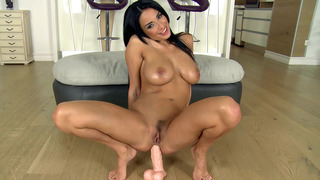Anissa Kate prepares her anal hole as she_rides the dildo image
