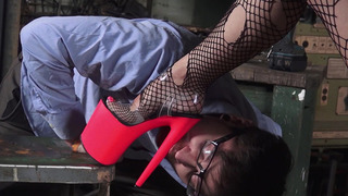 Brunette slut Katrina Jade has him lick her feet in the garage image
