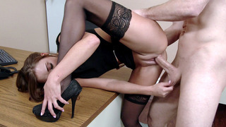 Feisty secretary Marry Lynn has_her boss fuck her in the office image