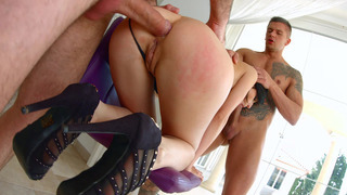 Lina Arian gets mouth and ass fucked by two horny_dudes image