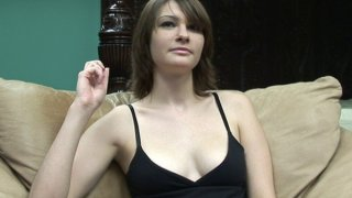 Hot babe is chatting on camera and showing tits and twat image