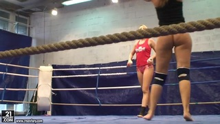 Backstage with horny chicks Blue Angel and Debbie White fighting on the ring image