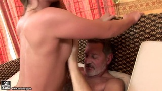 Teen Cathy Heaven has nice screw with old man image