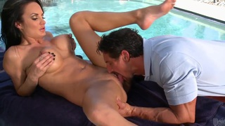 Hot sex by the pool with a massage boy image