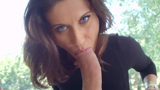 Image: Beautiful glamour girl Madlin Moon_expanded her asshole with glass dildo and now sucking her fucker's cock.