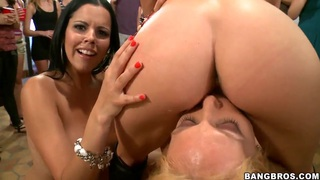 Gangbang of three totally naked dirty-minded bitches in front of a public image