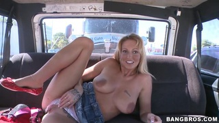 Trixie Star doesn't hesitates to get naked and to oped wide her pussy in our bus image