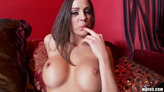 Appetite, perfect woman Abigail Mac strips in beautiful room and stimulates her hole image